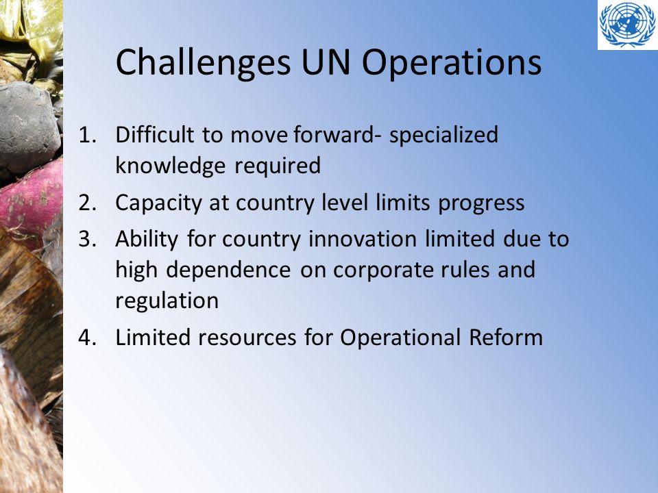 Challenges UN Operations 1.Difficult to move forward- specialized knowledge required 2.Capacity at country level limits progress 3.Ability for country innovation limited due to high dependence on corporate rules and regulation 4.Limited resources for Operational Reform
