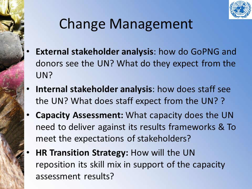 Change Management External stakeholder analysis: how do GoPNG and donors see the UN.