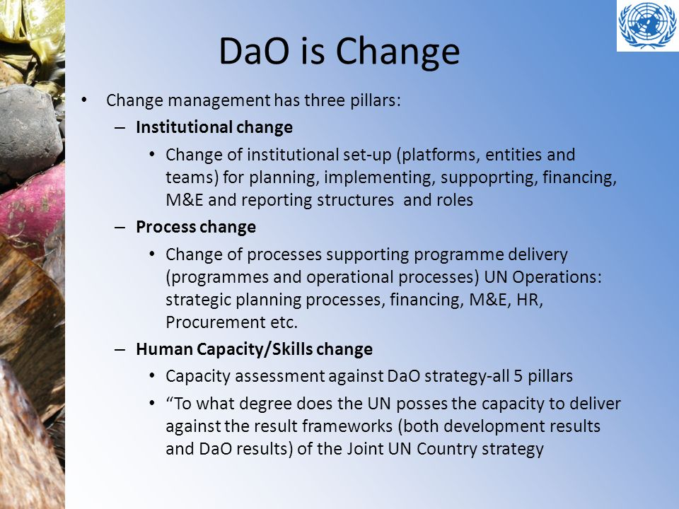 DaO is Change Change management has three pillars: – Institutional change Change of institutional set-up (platforms, entities and teams) for planning,