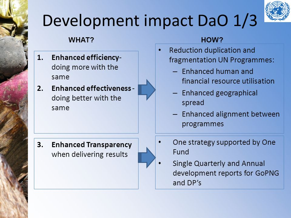 Development impact DaO 1/3 Reduction duplication and fragmentation UN Programmes: – Enhanced human and financial resource utilisation – Enhanced geogr