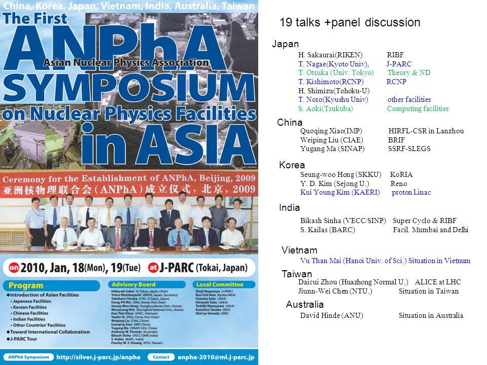 19 talks +panel discussion Japan H. Sakaurai(RIKEN) RIBF T.