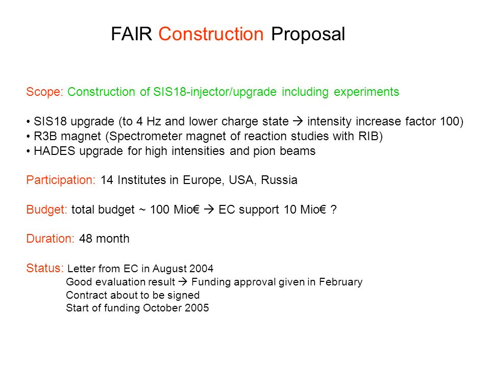FAIR Construction Proposal Scope: Construction of SIS18-injector/upgrade including experiments SIS18 upgrade (to 4 Hz and lower charge state intensity