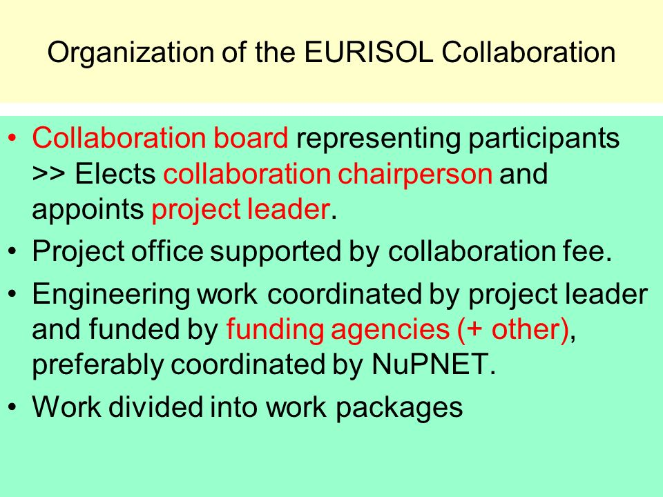 Organization of the EURISOL Collaboration Collaboration board representing participants >> Elects collaboration chairperson and appoints project leader.
