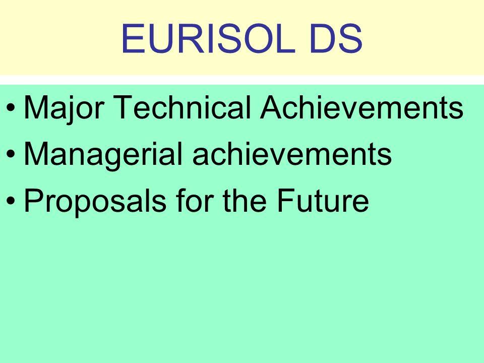 EURISOL DS Major Technical Achievements Managerial achievements Proposals for the Future