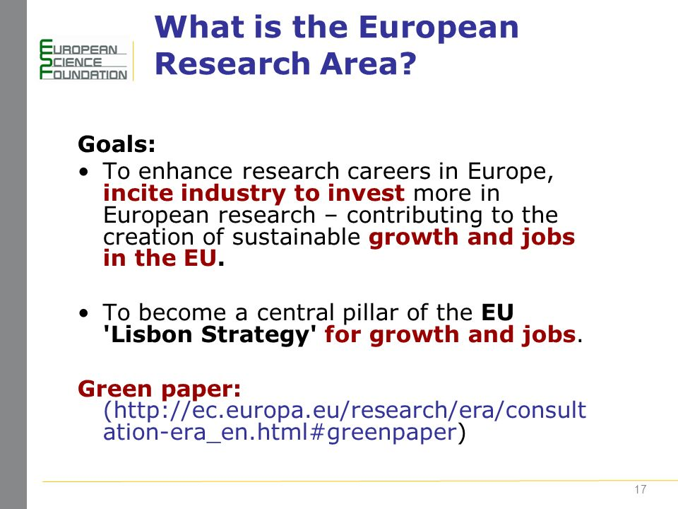 17 What is the European Research Area.