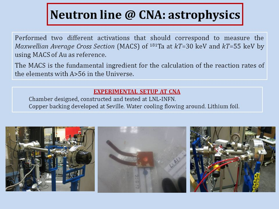 Neutron line @ CNA: astrophysics Performed two different activations that should correspond to measure the Maxwellian Average Cross Section (MACS) of