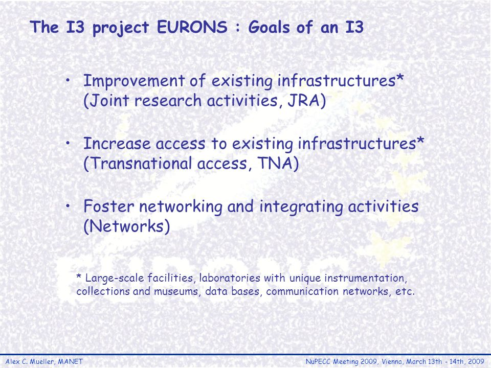 Alex C. Mueller, MANETNuPECC Meeting 2009, Vienna, March 13th - 14th, 2009 The I3 project EURONS : Goals of an I3 Improvement of existing infrastructu