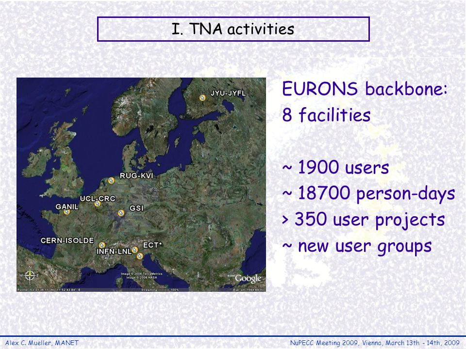 Alex C. Mueller, MANETNuPECC Meeting 2009, Vienna, March 13th - 14th, 2009 I. TNA activities EURONS backbone: 8 facilities ~ 1900 users ~ 18700 person