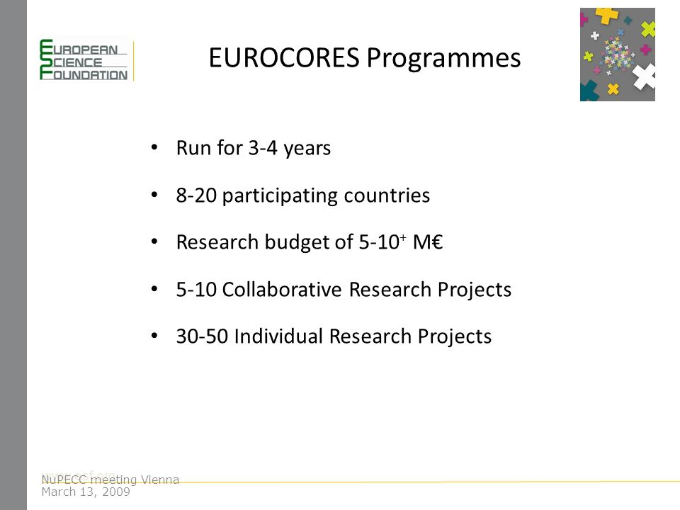www.esf.org EUROCORES Programmes Run for 3-4 years 8-20 participating countries Research budget of 5-10 + M 5-10 Collaborative Research Projects 30-50 Individual Research Projects NuPECC meeting Vienna March 13, 2009