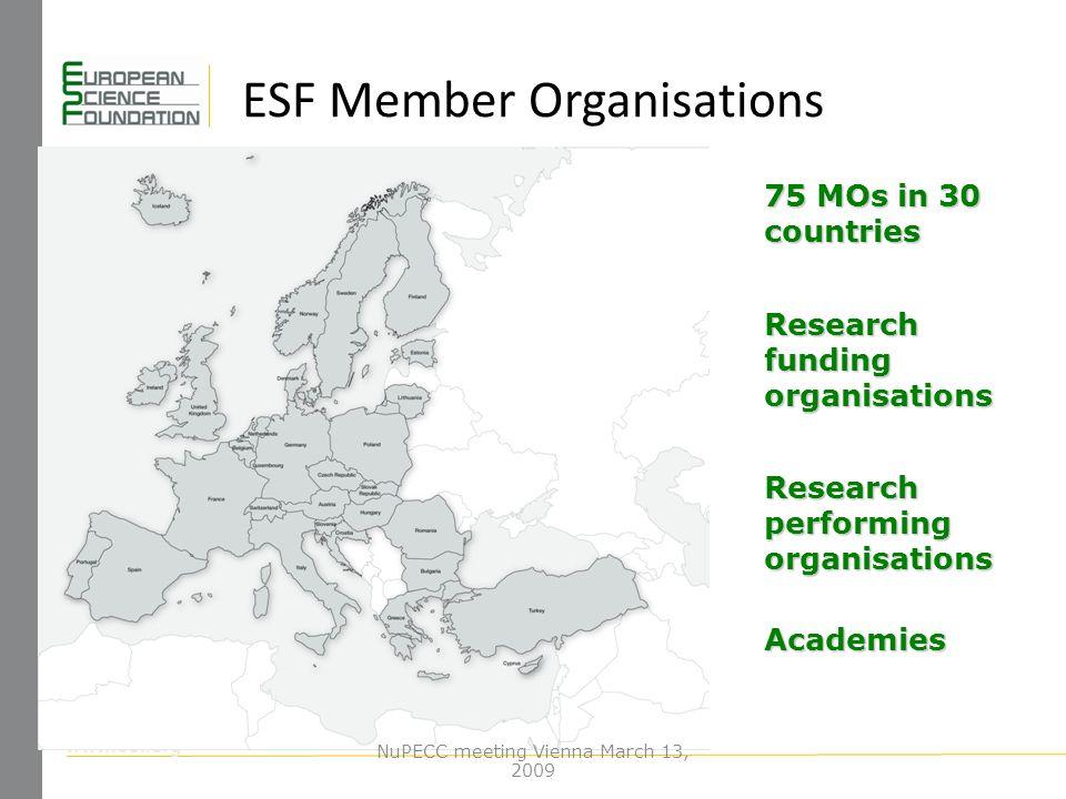 www.esf.org ESF Member Organisations 75 MOs in 30 countries Research funding organisations Research performing organisations Academies NuPECC meeting Vienna March 13, 2009