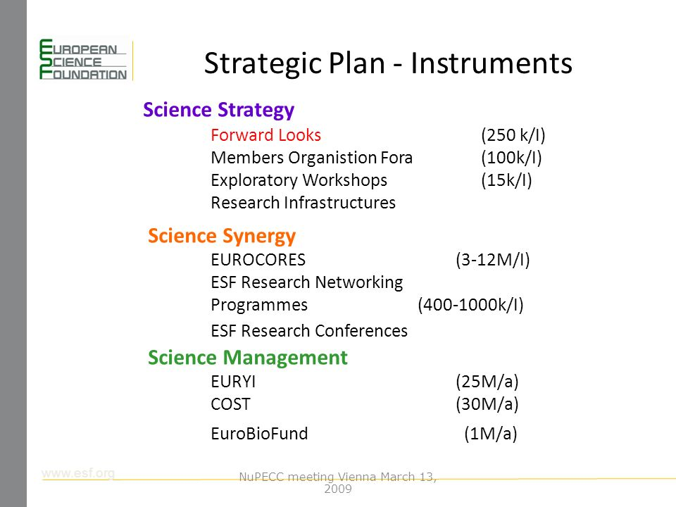 www.esf.org Strategic Plan - Instruments Science Strategy Forward Looks(250 k/I) Members Organistion Fora(100k/I) Exploratory Workshops (15k/I) Research Infrastructures Science Synergy EUROCORES (3-12M/I) ESF Research Networking Programmes (400-1000k/I) ESF Research Conferences Science Management EURYI (25M/a) COST (30M/a) EuroBioFund (1M/a) NuPECC meeting Vienna March 13, 2009