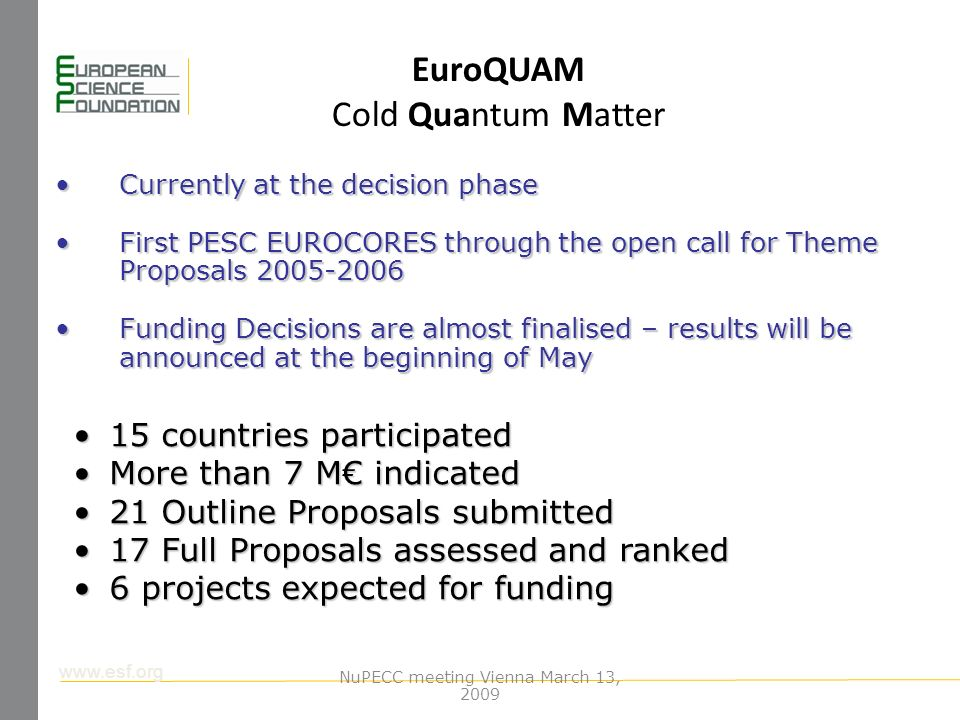 www.esf.org EuroQUAM Cold Quantum Matter 15 countries participated15 countries participated More than 7 M indicatedMore than 7 M indicated 21 Outline Proposals submitted21 Outline Proposals submitted 17 Full Proposals assessed and ranked17 Full Proposals assessed and ranked 6 projects expected for funding6 projects expected for funding Currently at the decision phaseCurrently at the decision phase First PESC EUROCORES through the open call for Theme Proposals 2005-2006First PESC EUROCORES through the open call for Theme Proposals 2005-2006 Funding Decisions are almost finalised – results will be announced at the beginning of MayFunding Decisions are almost finalised – results will be announced at the beginning of May NuPECC meeting Vienna March 13, 2009