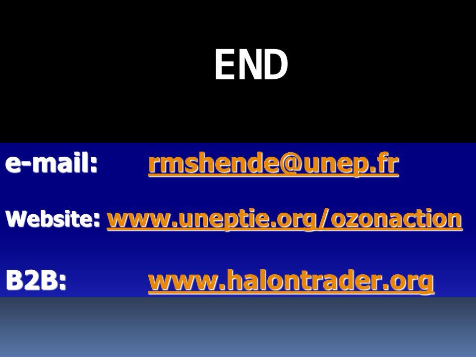 END e-mail:rmshende@unep.fr e-mail: rmshende@unep.frrmshende@unep.fr Website : www.uneptie.org/ozonaction www.uneptie.org/ozonaction B2B: www.halontrader.org www.halontrader.org