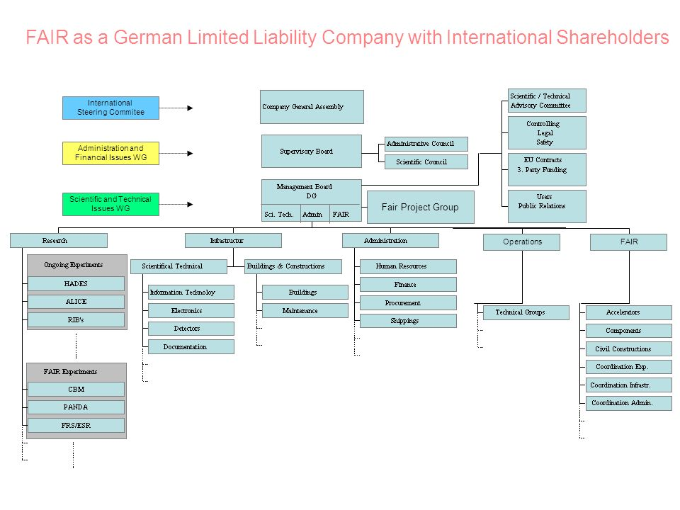 International Steering Commitee Administration and Financial Issues WG Scientific and Technical Issues WG FAIR as a German Limited Liability Company with International Shareholders Fair Project Group Operations FAIR