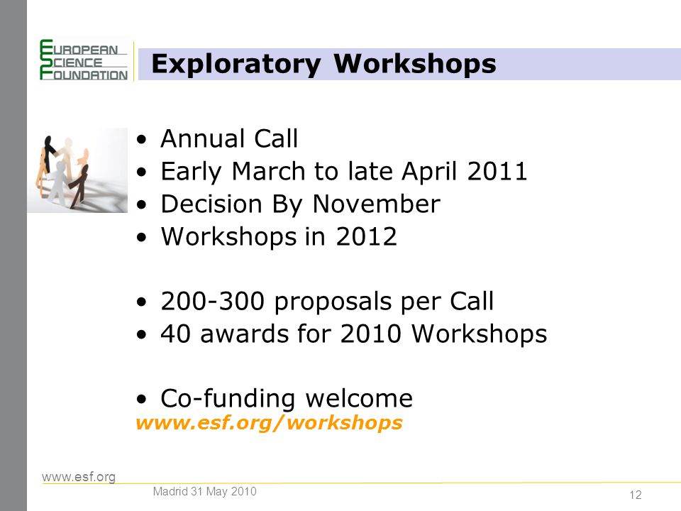 www.esf.org 12 Annual Call Early March to late April 2011 Decision By November Workshops in 2012 200-300 proposals per Call 40 awards for 2010 Workshops Co-funding welcome www.esf.org/workshops Exploratory Workshops Madrid 31 May 2010