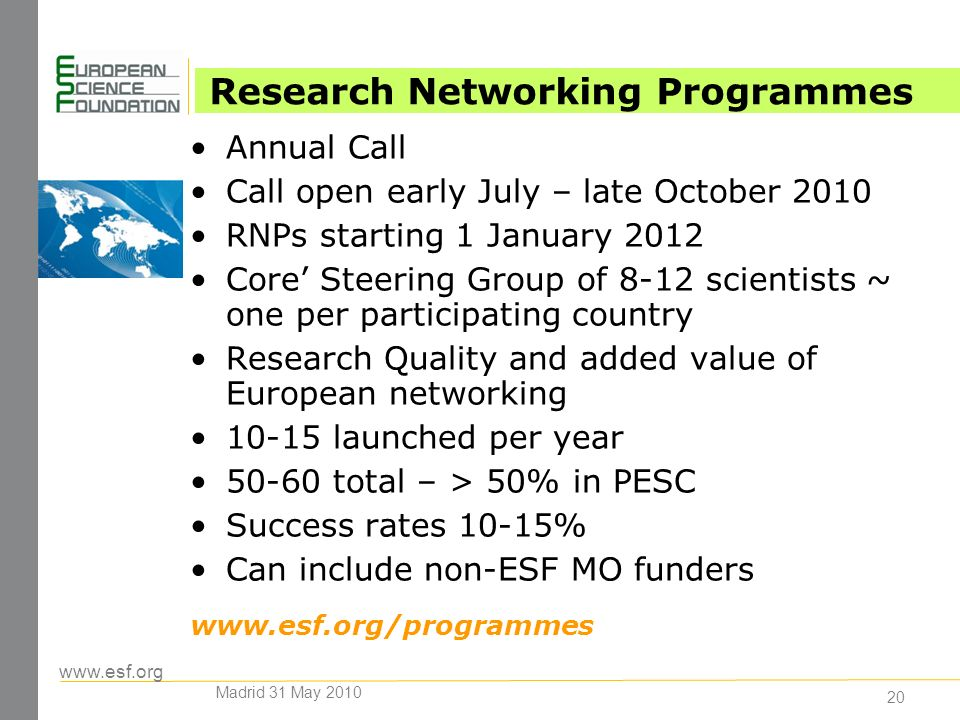 www.esf.org 20 Annual Call Call open early July – late October 2010 RNPs starting 1 January 2012 Core Steering Group of 8-12 scientists ~ one per participating country Research Quality and added value of European networking 10-15 launched per year 50-60 total – > 50% in PESC Success rates 10-15% Can include non-ESF MO funders www.esf.org/programmes Research Networking Programmes Madrid 31 May 2010