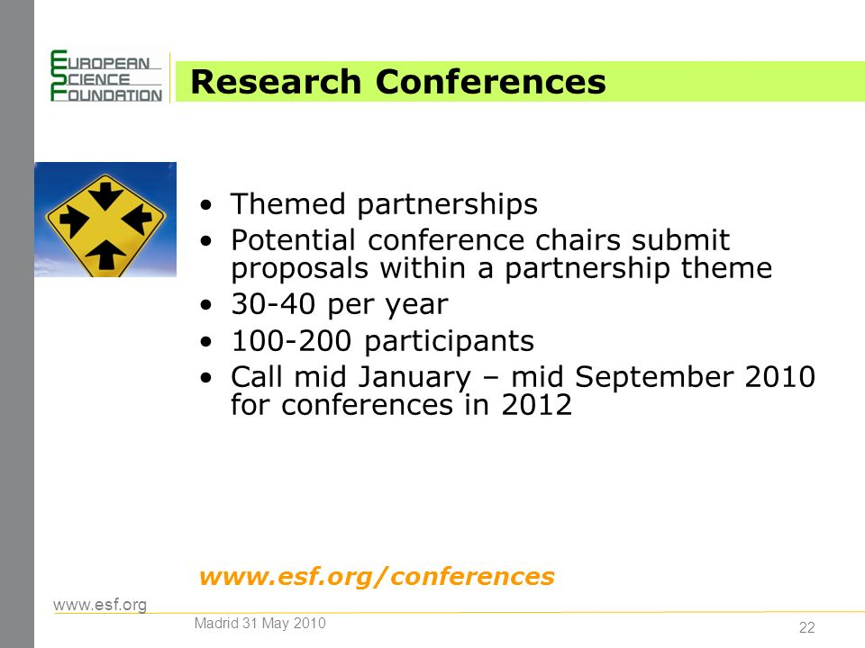 www.esf.org 22 Research Conferences Themed partnerships Potential conference chairs submit proposals within a partnership theme 30-40 per year 100-200 participants Call mid January – mid September 2010 for conferences in 2012 www.esf.org/conferences Madrid 31 May 2010