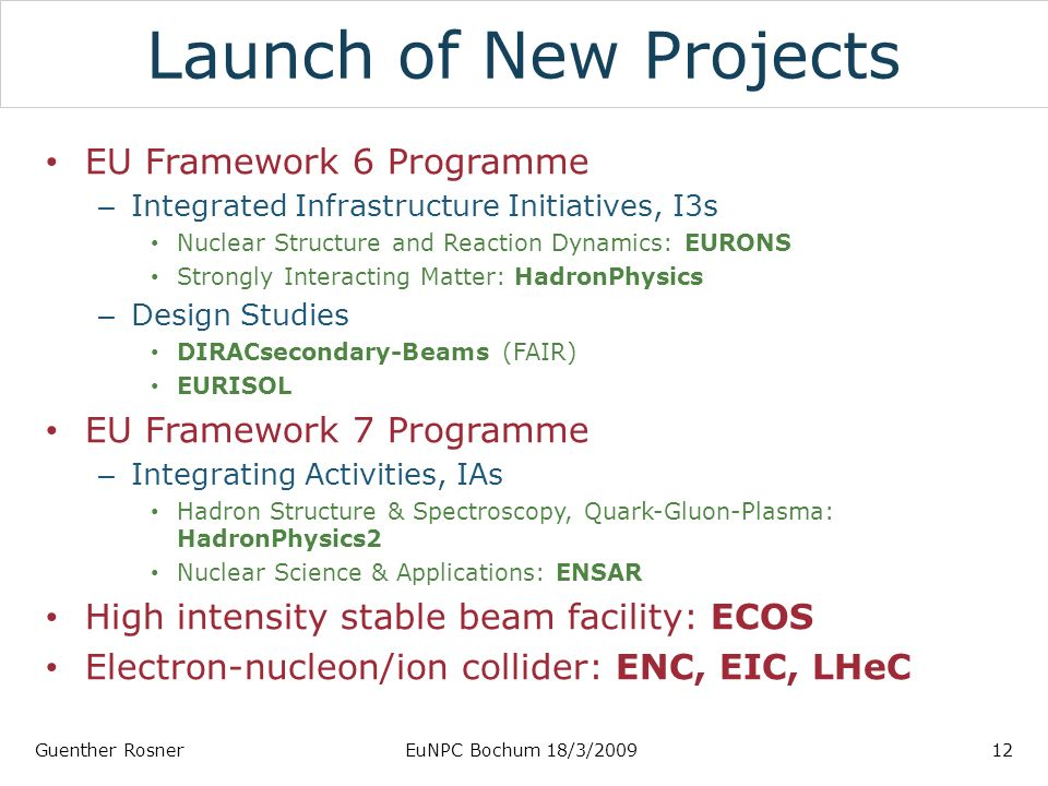 Launch of New Projects EU Framework 6 Programme – Integrated Infrastructure Initiatives, I3s Nuclear Structure and Reaction Dynamics: EURONS Strongly Interacting Matter: HadronPhysics – Design Studies DIRACsecondary-Beams (FAIR) EURISOL EU Framework 7 Programme – Integrating Activities, IAs Hadron Structure & Spectroscopy, Quark-Gluon-Plasma: HadronPhysics2 Nuclear Science & Applications: ENSAR High intensity stable beam facility: ECOS Electron-nucleon/ion collider: ENC, EIC, LHeC Guenther RosnerEuNPC Bochum 18/3/200912