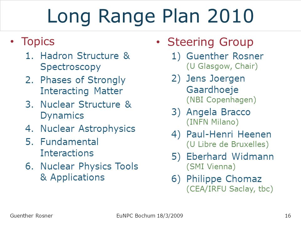 Long Range Plan 2010 Topics 1.Hadron Structure & Spectroscopy 2.Phases of Strongly Interacting Matter 3.Nuclear Structure & Dynamics 4.Nuclear Astrophysics 5.Fundamental Interactions 6.Nuclear Physics Tools & Applications Steering Group 1)Guenther Rosner (U Glasgow, Chair) 2)Jens Joergen Gaardhoeje (NBI Copenhagen) 3)Angela Bracco (INFN Milano) 4)Paul-Henri Heenen (U Libre de Bruxelles) 5)Eberhard Widmann (SMI Vienna) 6)Philippe Chomaz (CEA/IRFU Saclay, tbc) Guenther RosnerEuNPC Bochum 18/3/200916