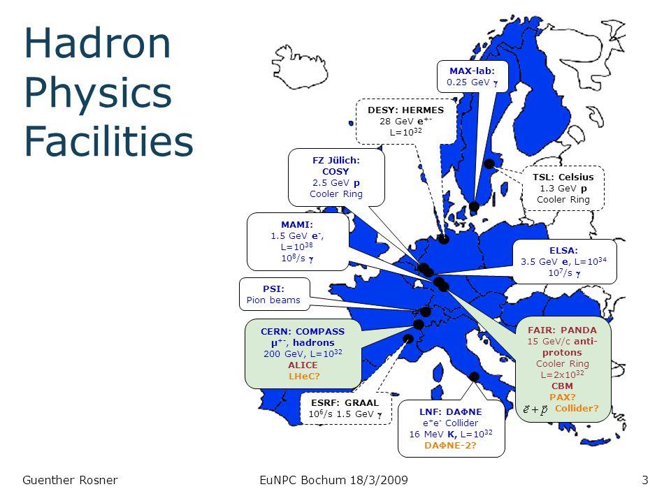 Guenther RosnerEuNPC Bochum 18/3/20093 DESY: HERMES 28 GeV e +- L=10 32 CERN: COMPASS μ +-, hadrons 200 GeV, L=10 32 ALICE LHeC.