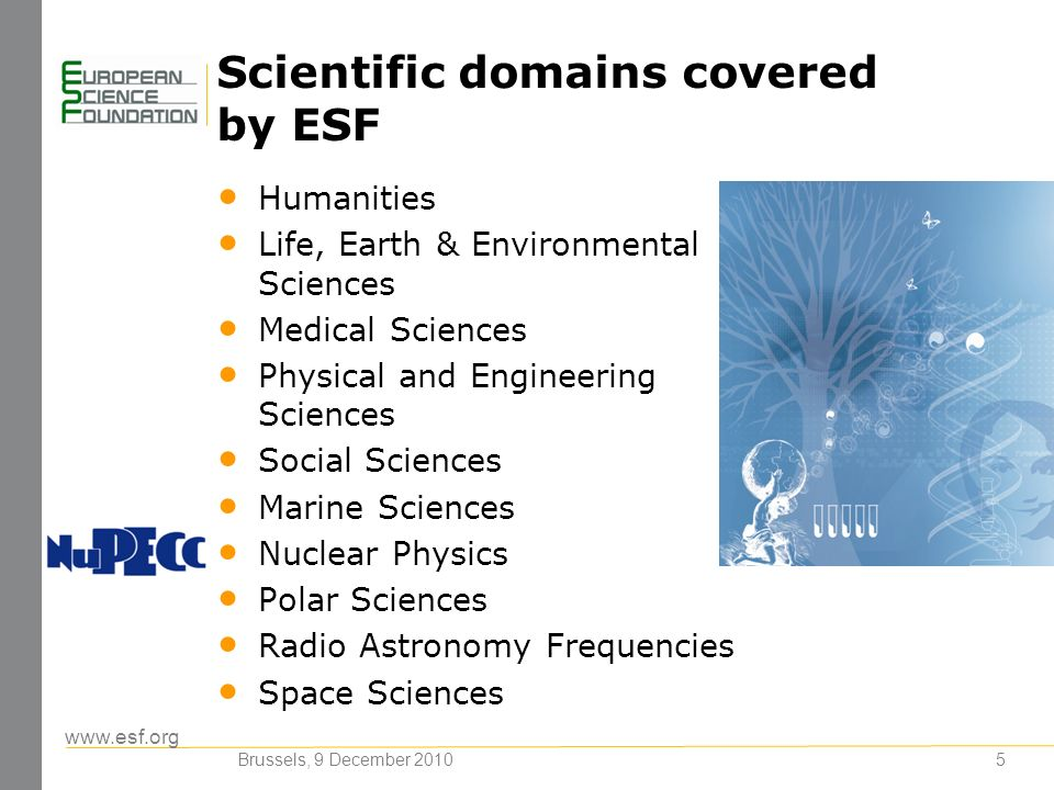 www.esf.org 5 Scientific domains covered by ESF Humanities Life, Earth & Environmental Sciences Medical Sciences Physical and Engineering Sciences Social Sciences Marine Sciences Nuclear Physics Polar Sciences Radio Astronomy Frequencies Space Sciences Brussels, 9 December 2010