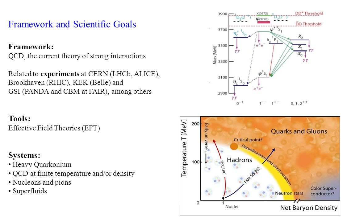 Framework and Scientific Goals Framework: QCD, the current theory of strong interactions Related to experiments at CERN (LHCb, ALICE), Brookhaven (RHI