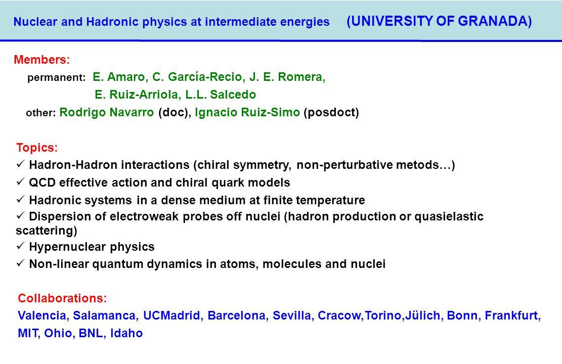 Nuclear and Hadronic physics at intermediate energies (UNIVERSITY OF GRANADA) Members: permanent: E. Amaro, C. García-Recio, J. E. Romera, E. Ruiz-Arr