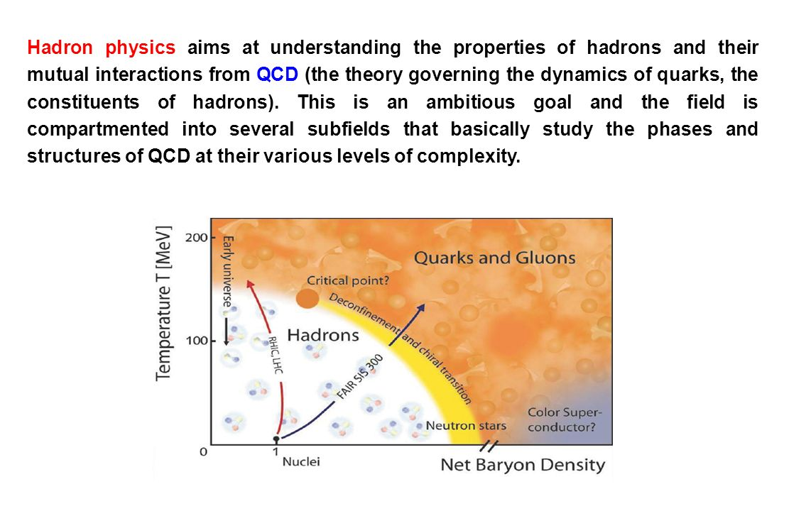 Hadron physics aims at understanding the properties of hadrons and their mutual interactions from QCD (the theory governing the dynamics of quarks, th