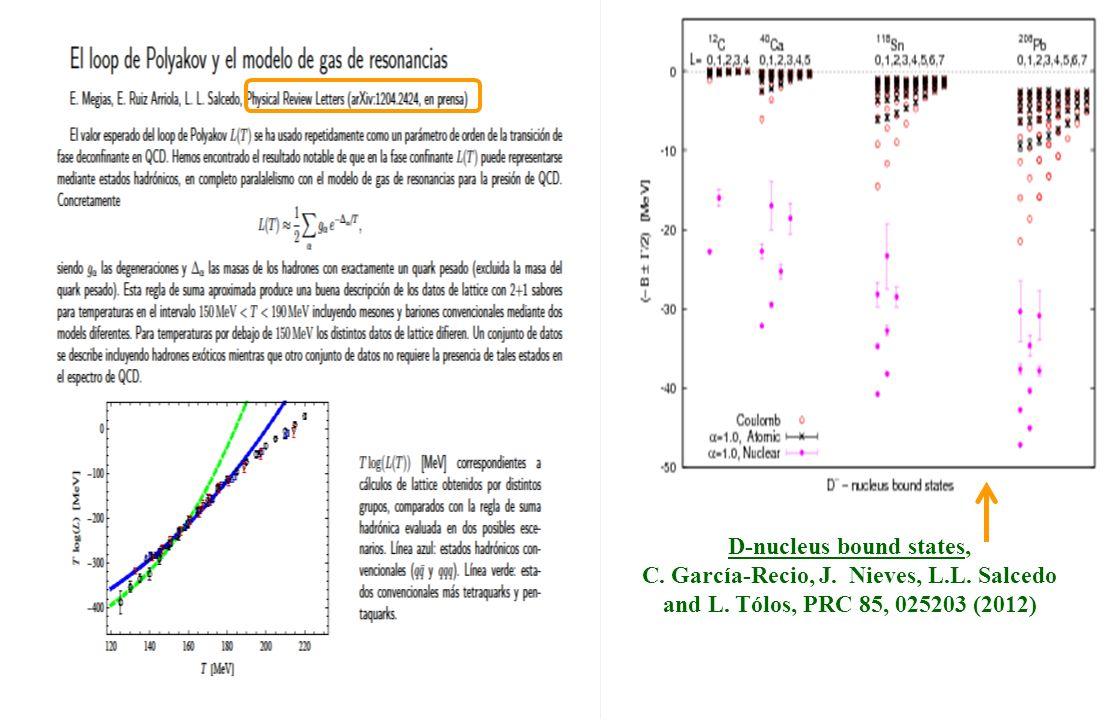 D-nucleus bound states, C. García-Recio, J. Nieves, L.L. Salcedo and L. Tólos, PRC 85, 025203 (2012)