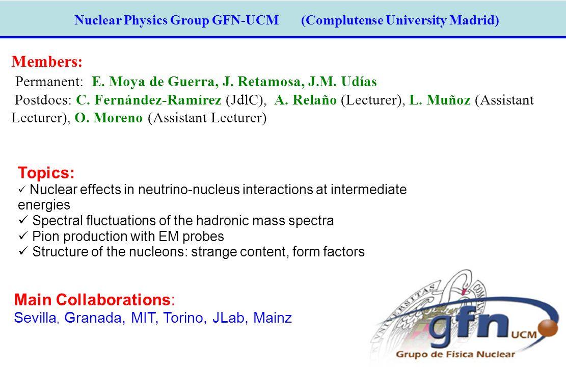 Nuclear Physics Group GFN-UCM (Complutense University Madrid) Members: Permanent: E. Moya de Guerra, J. Retamosa, J.M. Udías Postdocs: C. Fernández-Ra