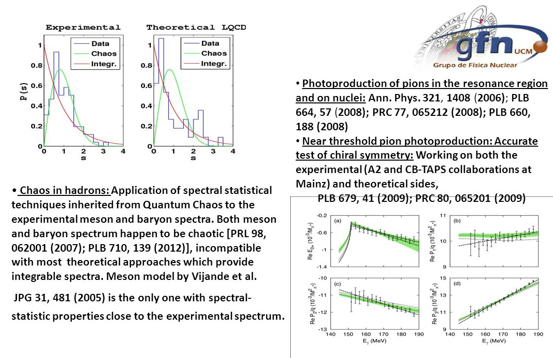 Chaos in hadrons: Application of spectral statistical techniques inherited from Quantum Chaos to the experimental meson and baryon spectra. Both meson
