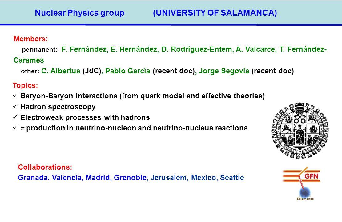 Nuclear Physics group(UNIVERSITY OF SALAMANCA) Members: permanent: F. Fernández, E. Hernández, D. Rodríguez-Entem, A. Valcarce, T. Fernández- Caramés