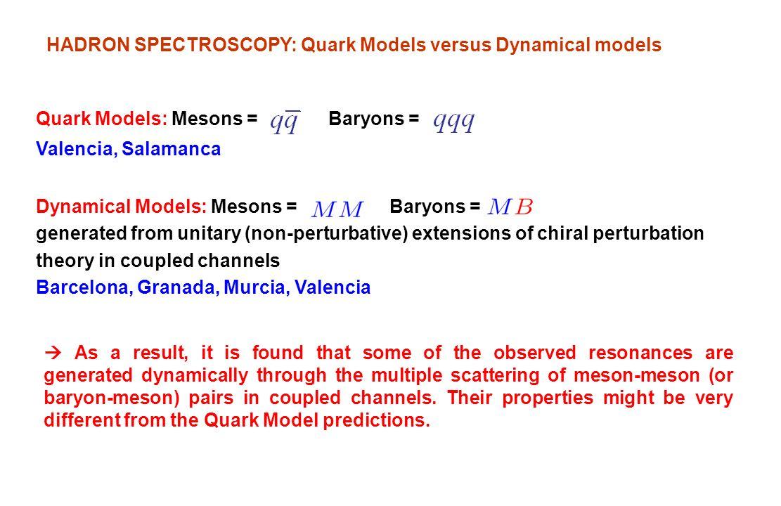 HADRON SPECTROSCOPY: Quark Models versus Dynamical models Dynamical Models: Mesons = Baryons = generated from unitary (non-perturbative) extensions of