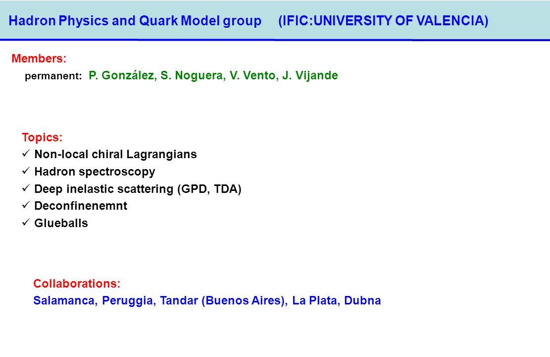 Hadron Physics and Quark Model group (IFIC:UNIVERSITY OF VALENCIA) Members: permanent: P. González, S. Noguera, V. Vento, J. Vijande Topics: Non-local