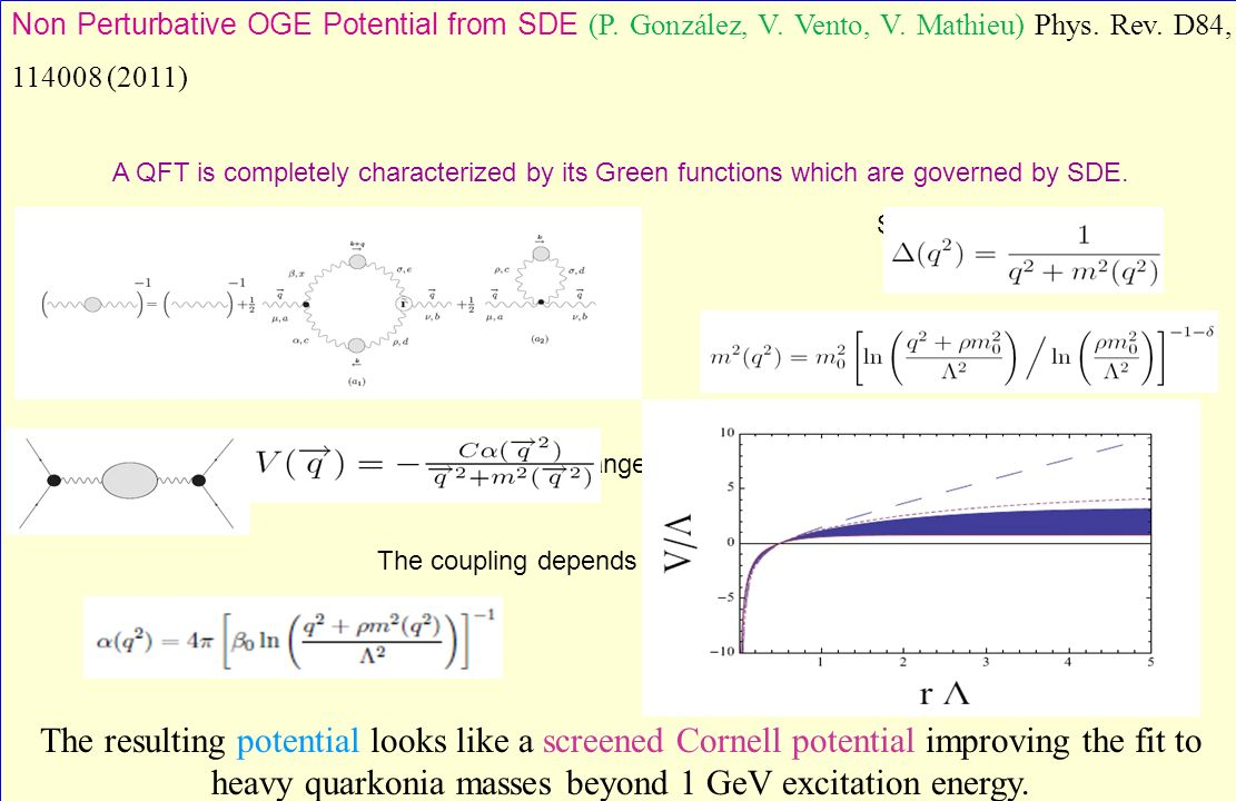 Non Perturbative OGE Potential from SDE (P. González, V. Vento, V. Mathieu) Phys. Rev. D84, 114008 (2011) A QFT is completely characterized by its Gre