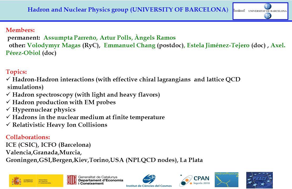 Hadron and Nuclear Physics group (UNIVERSITY OF BARCELONA ) Members: permanent: Assumpta Parreño, Artur Polls, Àngels Ramos other: Volodymyr Magas (Ry