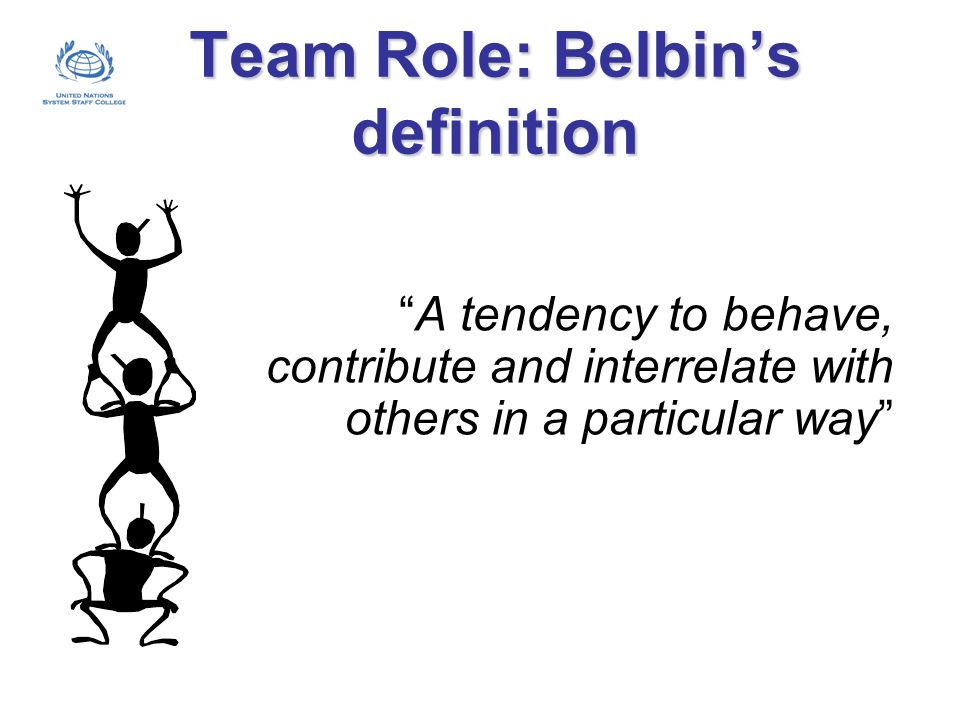 Team Role: Belbins definition A tendency to behave, contribute and interrelate with others in a particular way