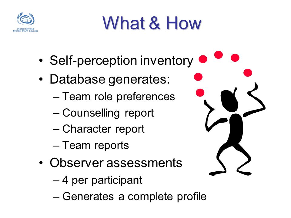 What & How Self-perception inventory Database generates: –Team role preferences –Counselling report –Character report –Team reports Observer assessmen