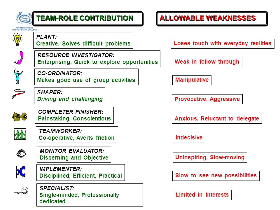 TEAM-ROLE CONTRIBUTION ALLOWABLE WEAKNESSES PLANT: Creative, Solves difficult problems Loses touch with everyday realities MONITOR EVALUATOR: Discerni