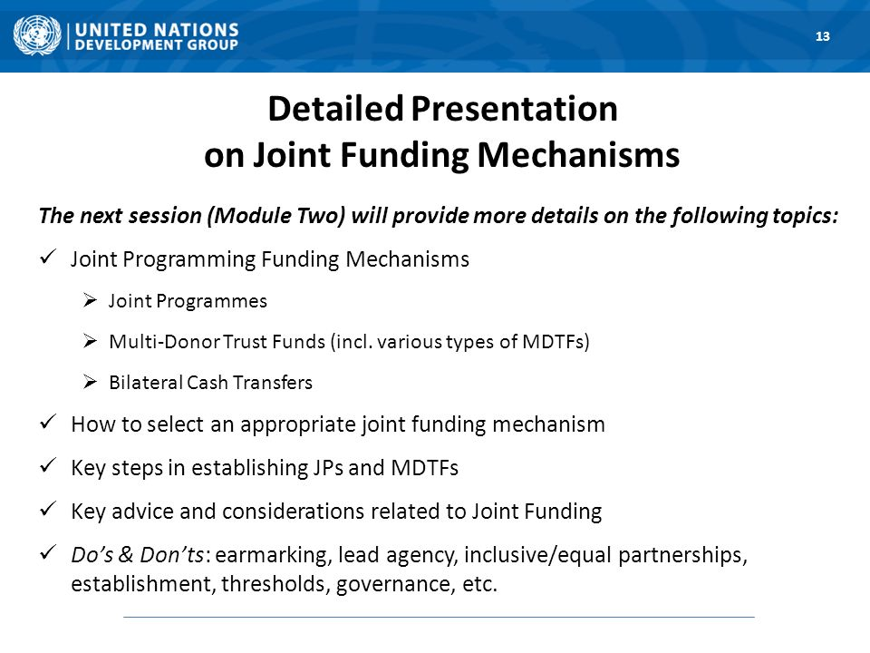 Detailed Presentation on Joint Funding Mechanisms The next session (Module Two) will provide more details on the following topics: Joint Programming Funding Mechanisms Joint Programmes Multi-Donor Trust Funds (incl.