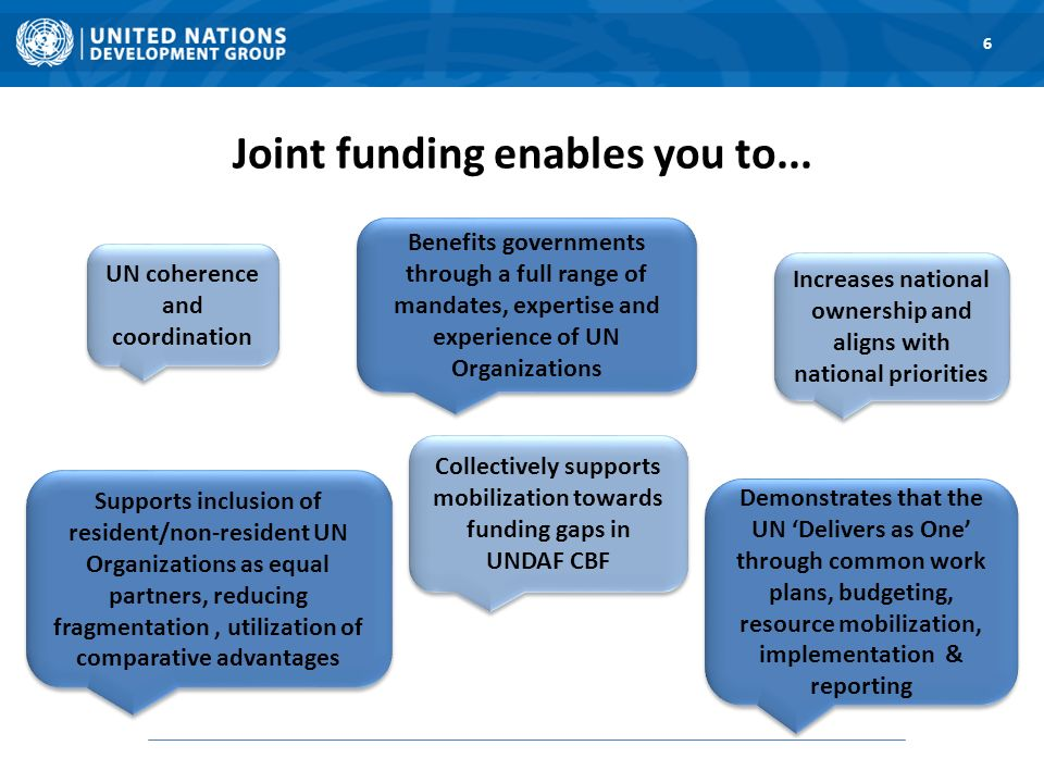 UN coherence and coordination Supports inclusion of resident/non-resident UN Organizations as equal partners, reducing fragmentation, utilization of comparative advantages Increases national ownership and aligns with national priorities Benefits governments through a full range of mandates, expertise and experience of UN Organizations Demonstrates that the UN Delivers as One through common work plans, budgeting, resource mobilization, implementation & reporting Collectively supports mobilization towards funding gaps in UNDAF CBF Joint funding enables you to...