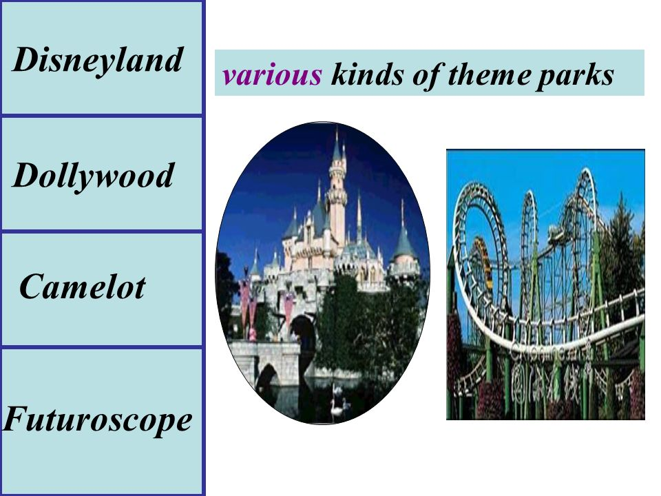 various kinds of theme parks Disneyland Camelot Futuroscope Dollywood