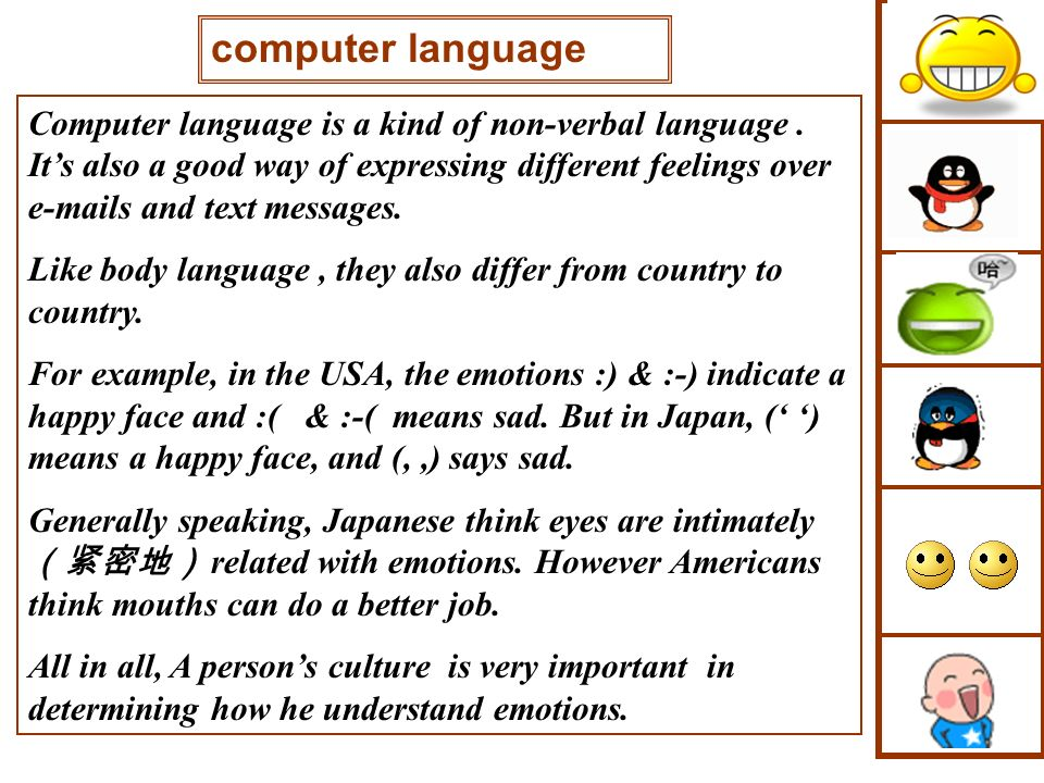 Computer language is a kind of non-verbal language. Its also a good way of expressing different feelings over e-mails and text messages. Like body lan