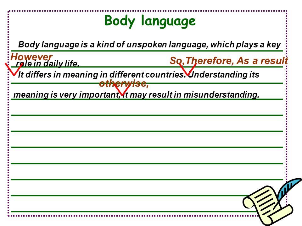 Body language ________________________________ ________________________________ ________________________________ ________________________________ ____
