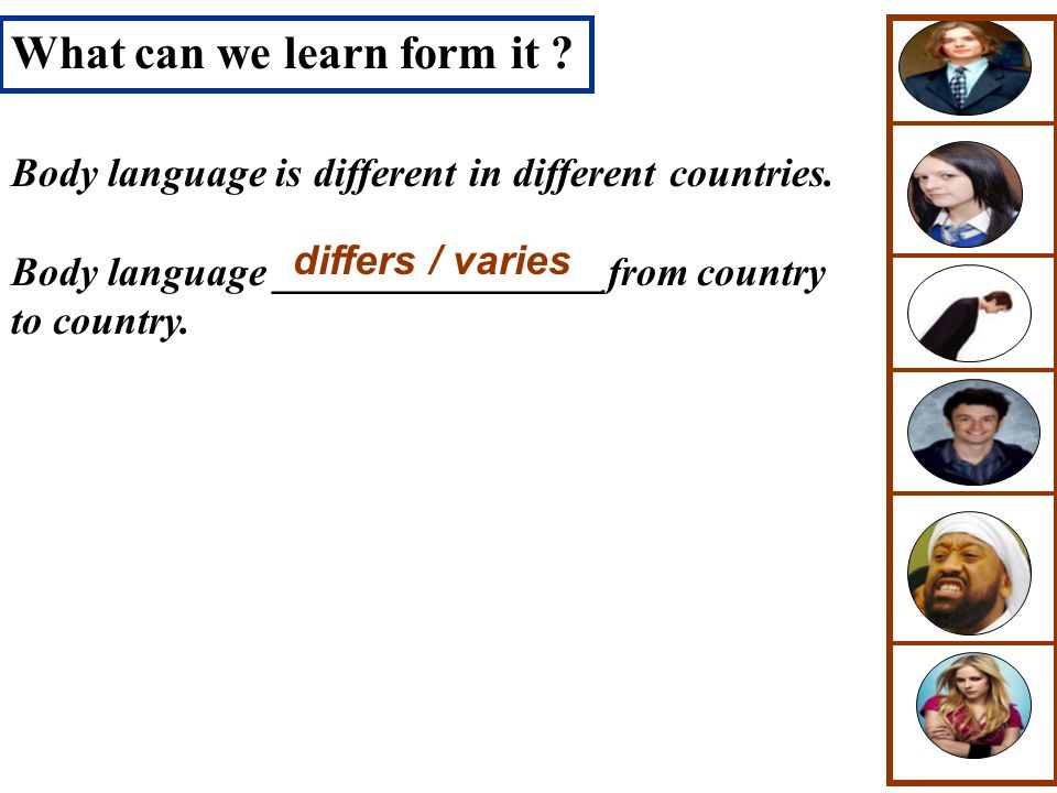 What can we learn form it ? Body language is different in different countries. Body language ________________from country to country. differs / varies