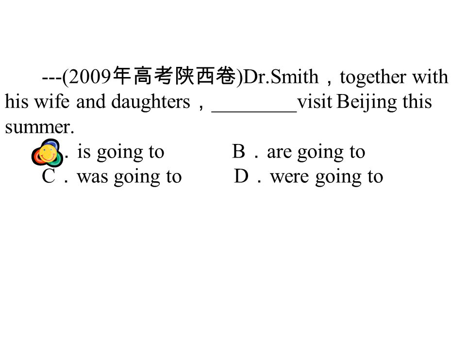 ---(2009 )Dr.Smith together with his wife and daughters ________visit Beijing this summer.