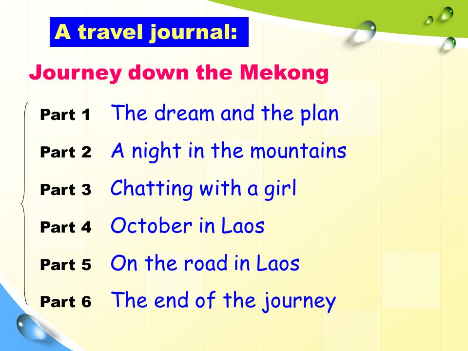 Part 1 The dream and the plan Part 2 A night in the mountains Part 3 Chatting with a girl Part 4 October in Laos Part 5 On the road in Laos Part 6 The end of the journey A travel journal: Journey down the Mekong