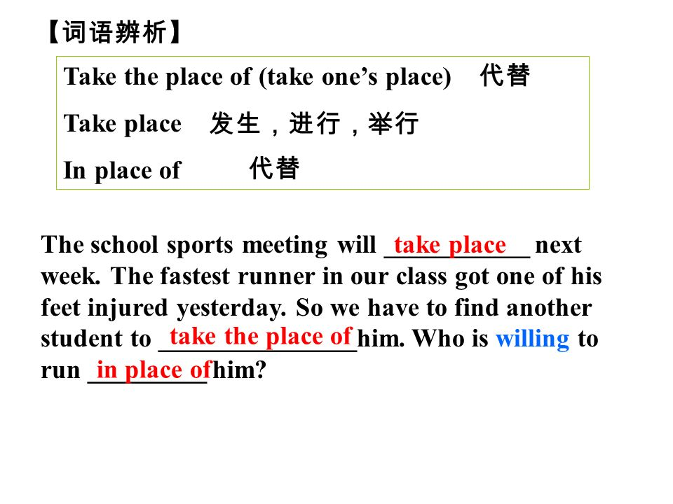 Take the place of (take ones place) Take place In place of The school sports meeting will ___________ next week.