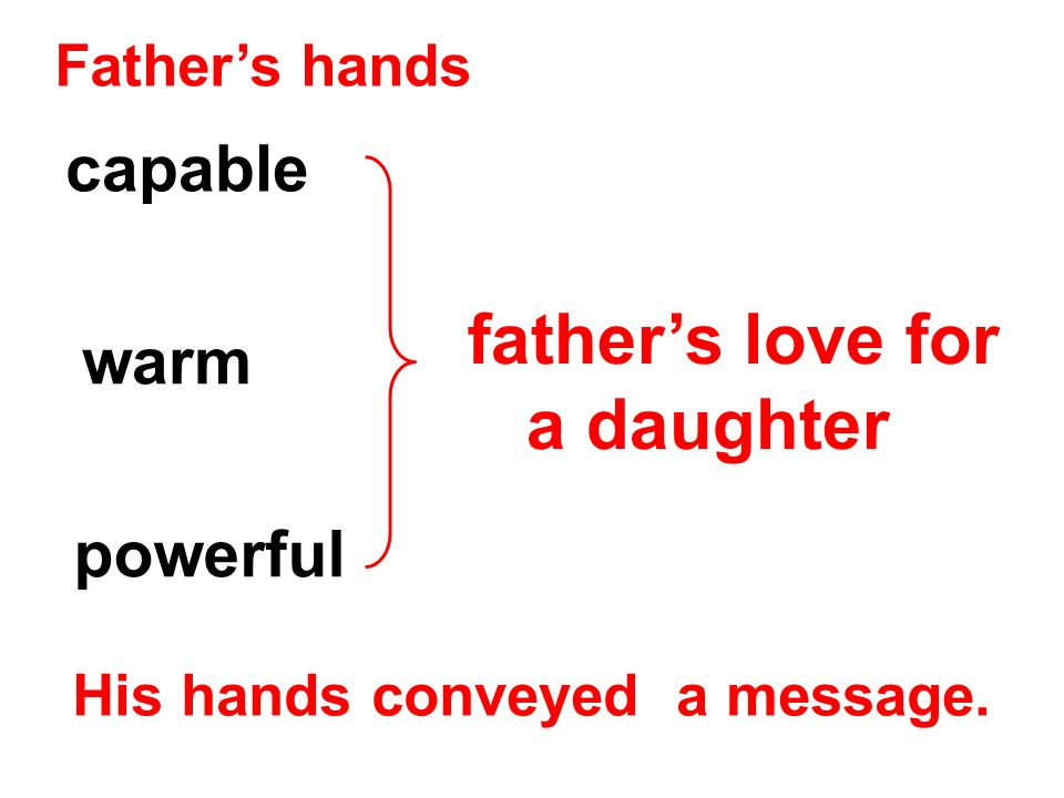 Fathers hands capable warm His hands conveyed a message. fathers love for a daughter powerful