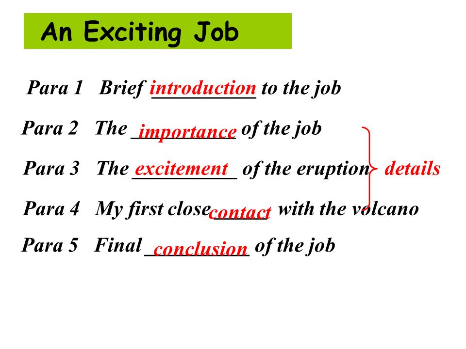 An Exciting Job introduction Para 1 Brief __________ to the job Para 2 The __________ of the job Para 3 The __________ of the eruption Para 4 My first